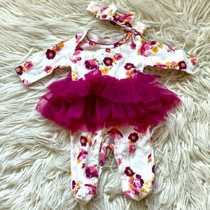 Baby Starters Footed Outfit in floral with tutu